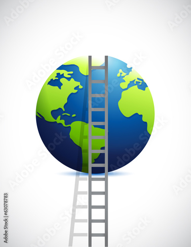 ladder and globe. illustration design