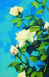 blossoming white roses, painting by oil on a canvas, illustratio