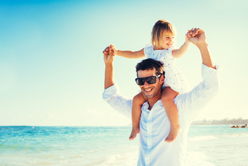 Father and Daughter at the Beach