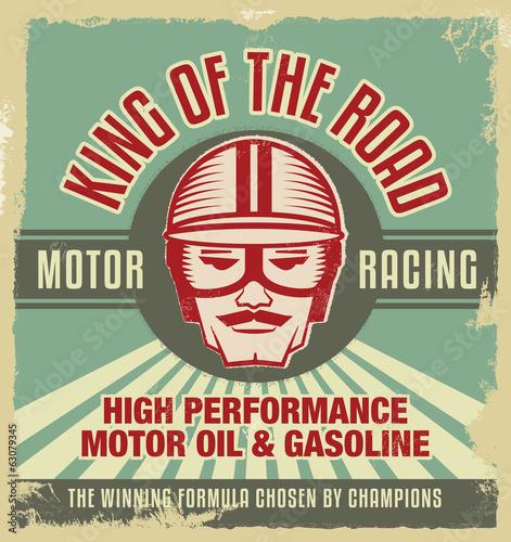mata magnetyczna Rocznika znak - Plakat reklamowy - Klasyczny samochód - garaż