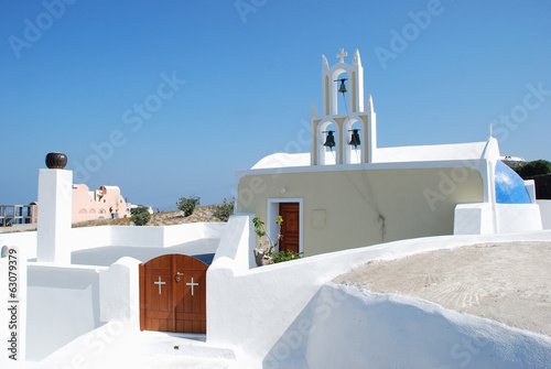 Typical Church with bell tower (Santorini Island - Greece)