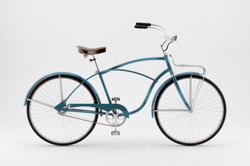 Retro bicycle on a white background.
