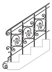 Black forged metal railings with floral motifs.