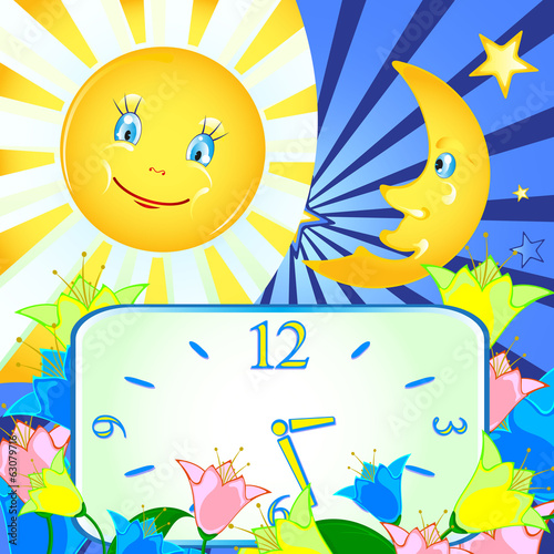 cheerful background with the moon, the sun and the clock