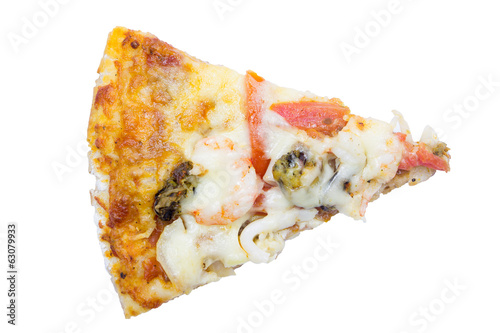 Delicious slice of pizza with seafood isolated on white