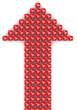 Стрелка из красных кубиков с надписью 70% на светлом фоне
