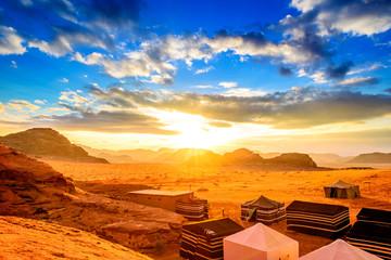 Scenic view of Jordanian desert sunset in Wadi Rum, Jordan