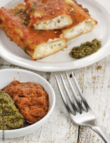Tomato Sauce And Basil Pesto