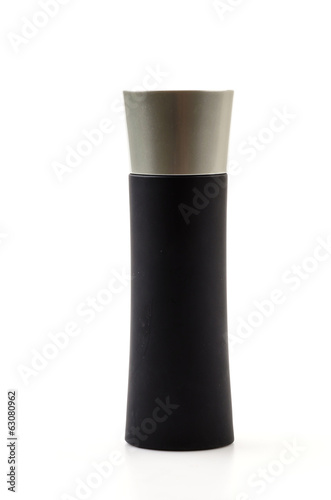 Black bottle perfume isolated white background