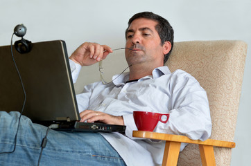Man Working or learning from home