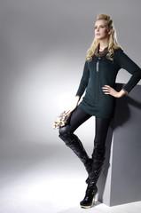 full length shot of fashion model on light background