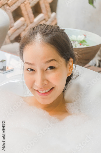 Women spa bath in jacuzzi