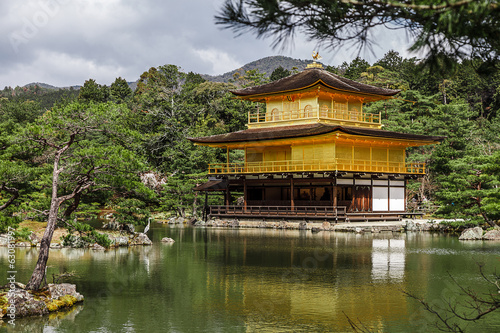 Kinkakuji golden temple in spring time, Kyoto Japan