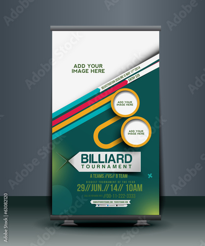 Billiard Competition Roll Up Banner Design