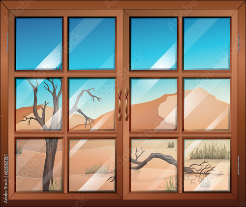 A window with a view of the desert
