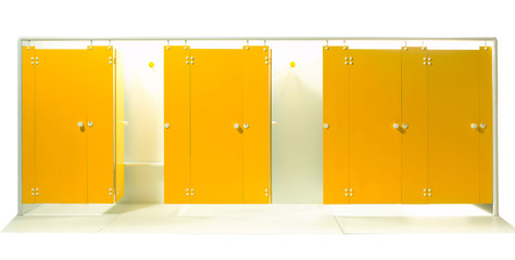 Empty sport dressing room isolated on white