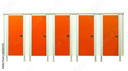 Colorful restroom stall doors isolated on white background