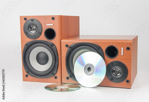 wooden sound speakers isolated on white background