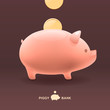 Piggy moneybox with golden coins, vector Eps10 image.