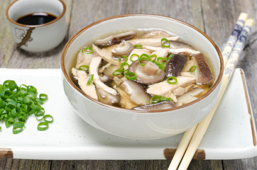 Chinese soup with chicken, shiitake mushrooms and green onions