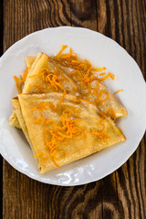 Pancakes with sweet citrus  sauce, crepes Suzette