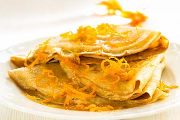 Pancakes with sweet citrus  sauce, crepes Suzette