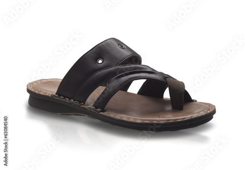 Men leather sandal style isolated on white background