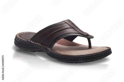 Genuine men leather sandal style isolated on white background
