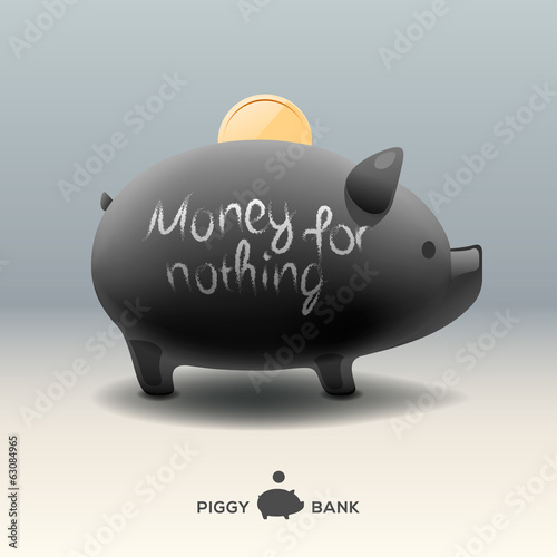 Piggy moneybox - money for nothing, vector Eps10 image.