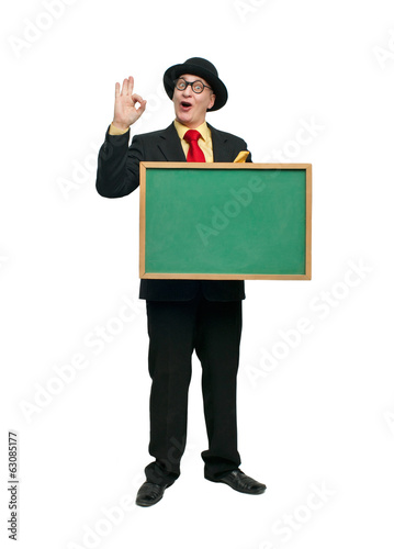 Man with a blackboard