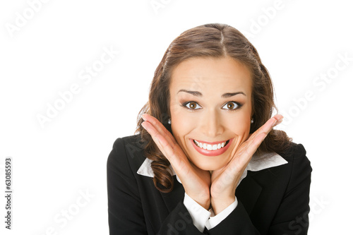 Happy surprised business woman, isolated