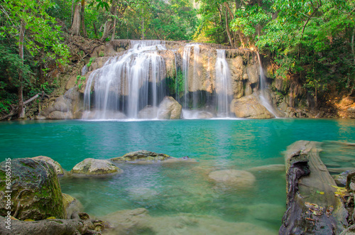 Waterfall in Deep forest at Erawan waterfall National Park, - 63085735