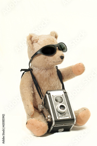 Antique Teddy Bear with Antique Camera