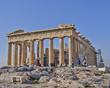 Obrazy na płótnie, fototapety, zdjęcia, fotoobrazy drukowane : Tourists in front of parthenon, Acropolis Athens, Greece