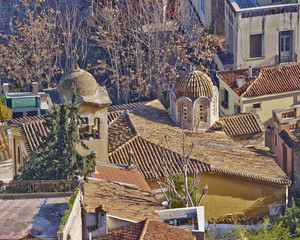 domes and roofs at Plaka, old Athens under Acropolis,  Greece