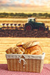 Bread in wicker basket with tractor and agricultural field in ba