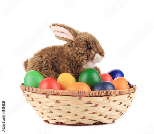 Easter eggs and basket isolated.
