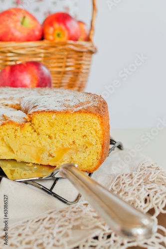 An apple pie on a lattice