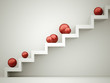 Red spheres on stairs