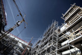 construction site, super-wide perspective and angles