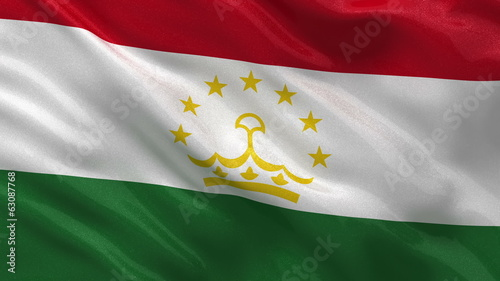 Flag of Tajikistan waving in the wind - seamless loop