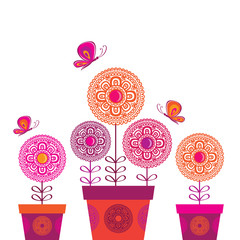 Spring flower with butterflies. Vector illustration.