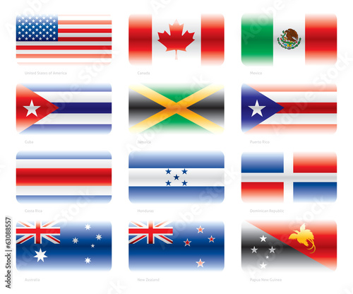 Modern flags set - America and Oceania