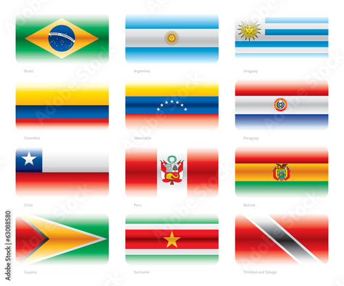 Modern flags set - South America