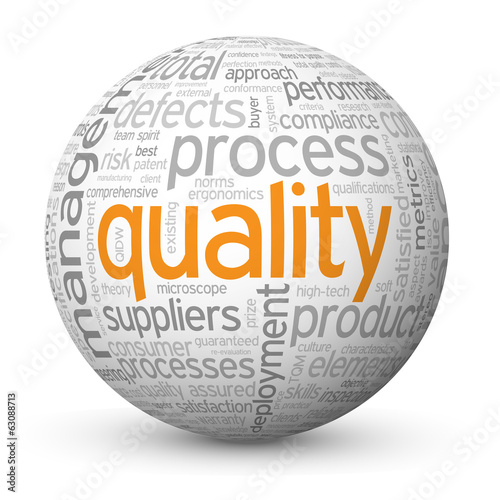 """QUALITY"" Tag Cloud Globe (customer service satisfaction value)"