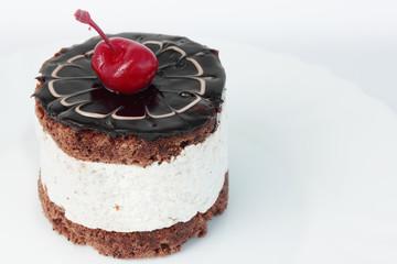Gentle cream dessert with cherries
