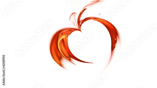 blazing red heart made of flames on white, seamless loop