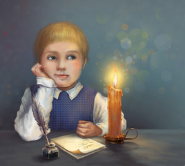 Boy dreaming and writing a letter by candlelight.