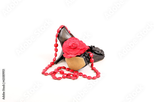 women's shoes with beads and flower