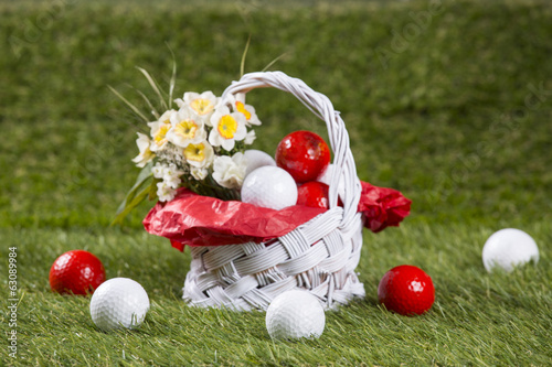 Easter Basket with Golf Balls